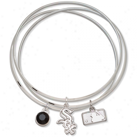 Logo Art Chicago White Sox Ladies Spirit Crystal Bangle Bracelet Set