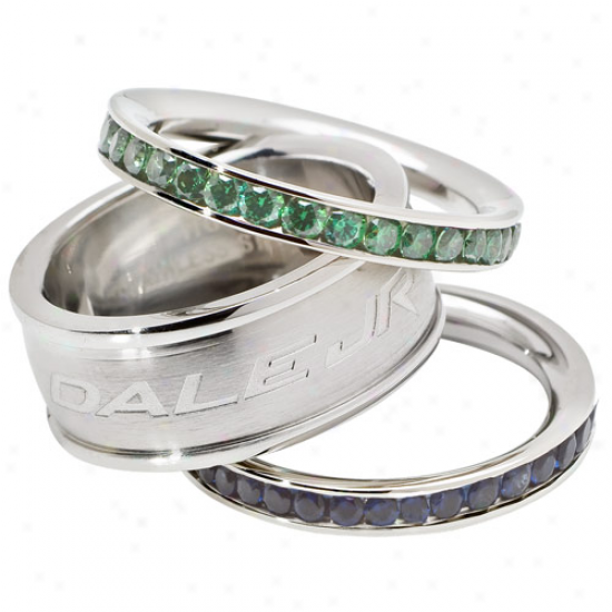 Logo Art Dale Earnhardt Jr. Ladies Nature Crstal Stacked Ring Set