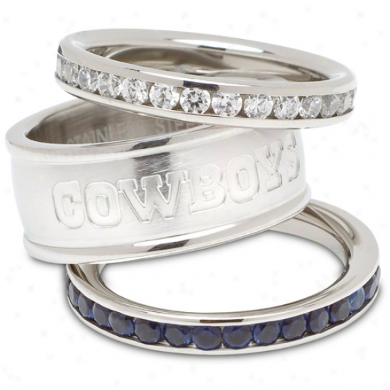 Logo Art Dallax Cowboys Ladies Spirit Crytsal Stacked Ring Set