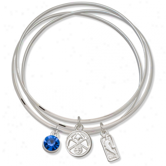 Logo Art Denver Nuggets Ladies Spirit Crystal Bangle Bracelet Set