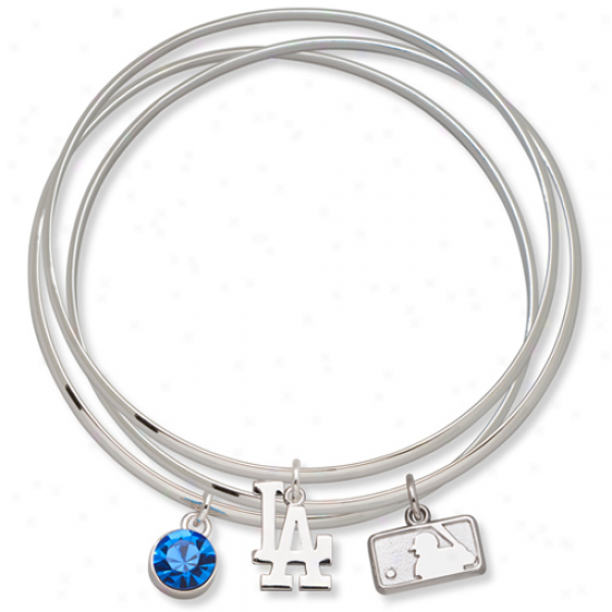 Loho Art L.a. Dodgers Ladies Spirit Crystal Bangle Bracelet Set