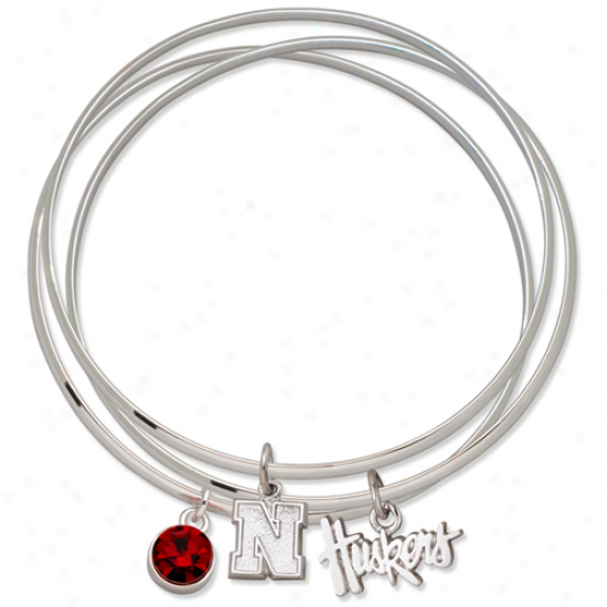Logo Creation of beauty Nebraska Cornhuskers Ladies Spirit Crystal Bangle Bracelet Sey