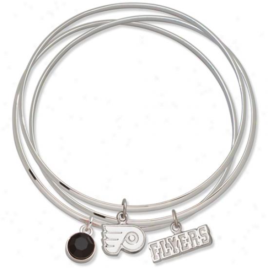 Logo Art Philadelphia Flyers Ladies Spirit Crystal Bangle Bracelet Set