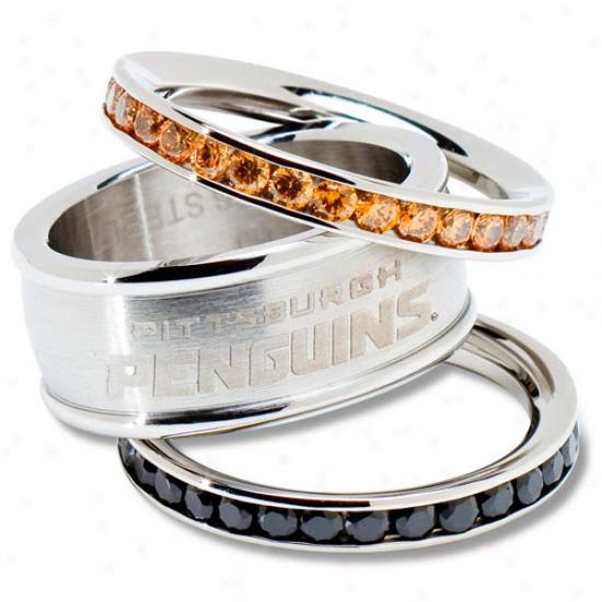 Logo Art Pottsburgh Penguins Ladies Spirit Crystal Stacked Ring Set