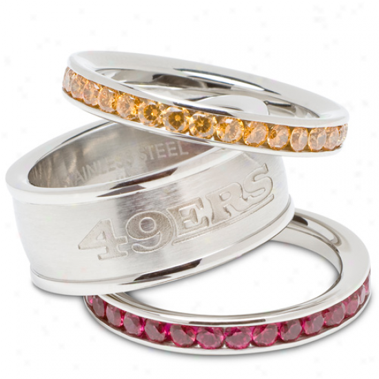 Logo Art San Francisco 49ers Ladies Air Crystal Stacked Ring Set