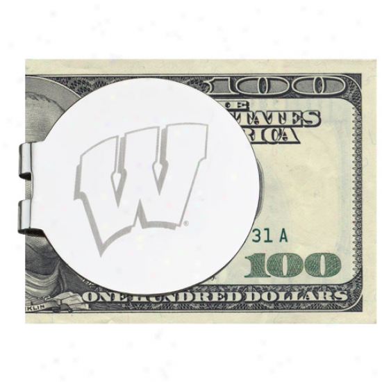 Logo Art Wisconsin Badgers Silver Laser-etched Money Prune