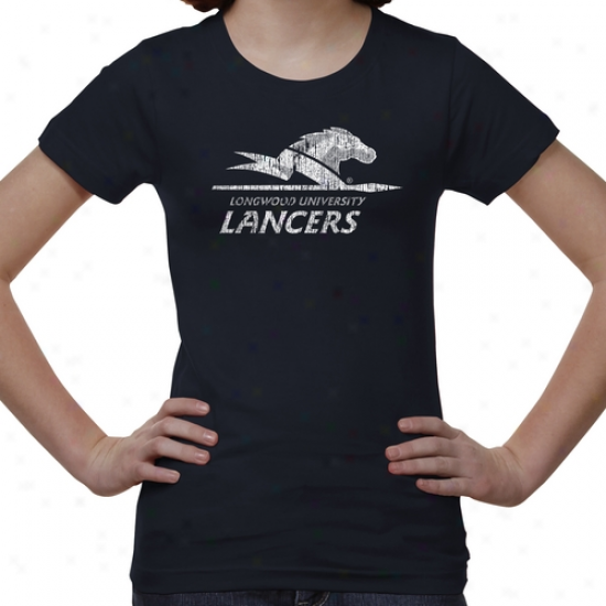 Longwood Lancers Youth Distressed Primary T-shirt - Navy Blue