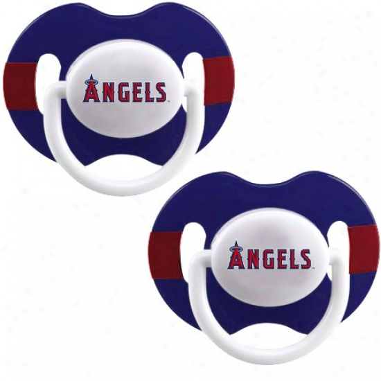 Los Angeles Angels Of Anaheim Royal Blue-red Striped 2-pack Team Logo Pacifiers