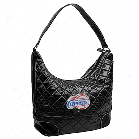 Los Angeles Clippers Ladies Blaxk Quilted Hobo Purse