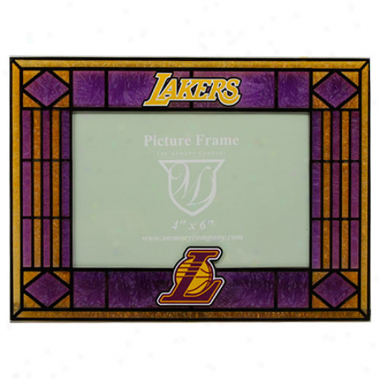Los Angeles Lakers Purple Art-glass Horizontal Picture Frame