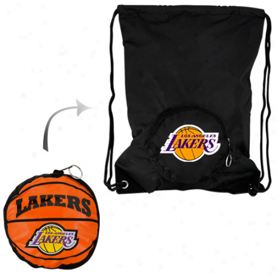 Los Angeles Lakers Tuck-away Collapsible Backsack - Black