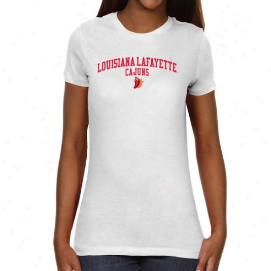 Louisiana-lafayette Ragin Cajuns Ladies Team Arch Slight Fit T-shirt - White