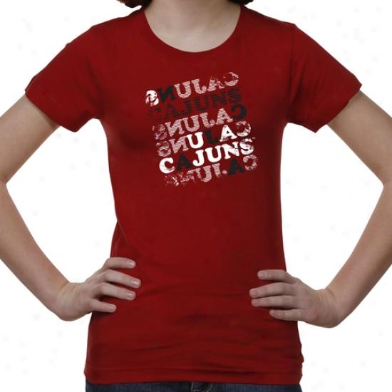 Louisiaa-lafayette Ragin Cajuns Youth Girls Crossword T-shirt - Red
