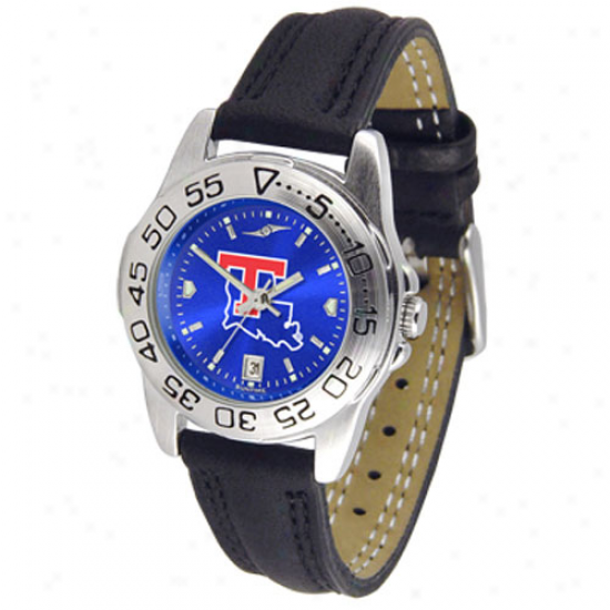 Louisiana Tech Buildogs Ladies Sport Leather Anochrome Watch