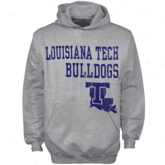 Louisiana Tech Bulldogs Youth Ash Stacked Hoody Sweatshirt