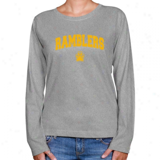 Loyola Chicago Ramblers Ladies Ash Logo Arch Long Sleeve Classic Fit Tee