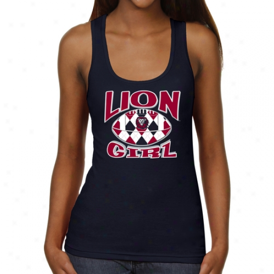 Loyola Marymount Lions Ladies Argyle Girl Junior's Ribbed Tank Top - Navy Blue