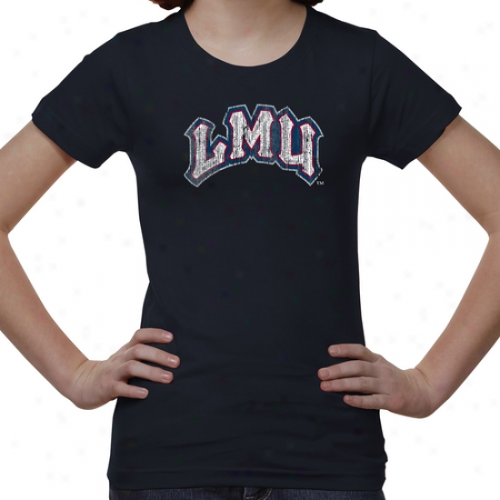 Loyola Marymount Lions Youth Distressed Primary T-shirt - Navy Blue-