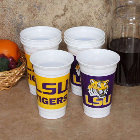 Lsu Tigers 8-pack 20oz. Name & Logo Plastic Cups