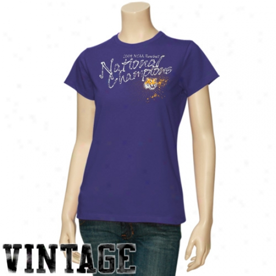 Lsu Tigers Ladies Purple 2009 Ncaa Men's College World Series Champions Distreseed Icon Vintage T-shirt
