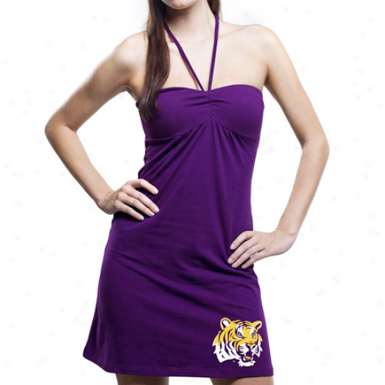 Lsu Tigers Ladies Purple Sweetheart Halter Dress