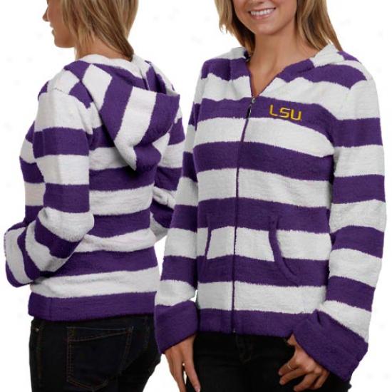 Lsu Tigers Ladies Purple-white Rugby Striped Full Zip Hoodie Jacket