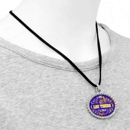 Lsu Tigers Ladies Silvertone Oval & Crown Suede Necklace