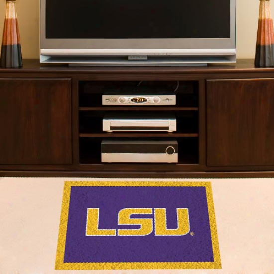 Lsu Tigers Purple-gold 18'' X 30'' Handmade Hooked Rug