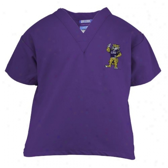 Lsu Tigers Purple Youth Mascot Scrub Top