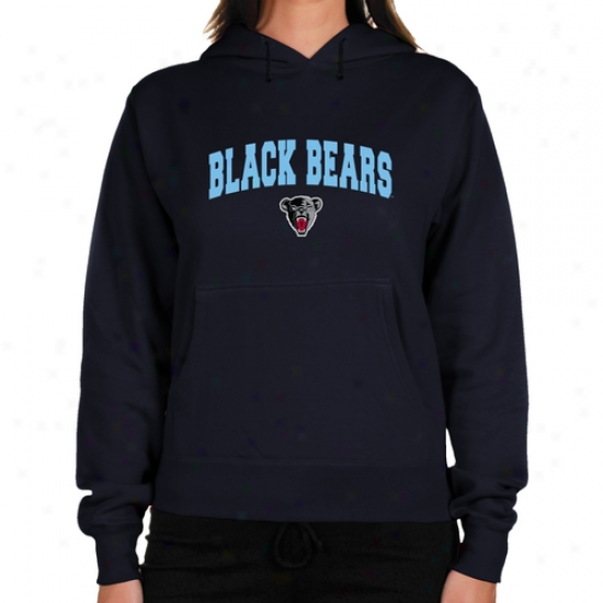 Maine Blacj Bears Ladies Navy Blue Logo Arch Lightweight Hoody