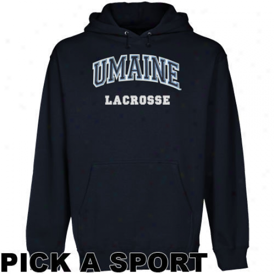 Maine Black Bears Navy Blue Custom Sport Arch Applique Midweight Pullover Hoody -
