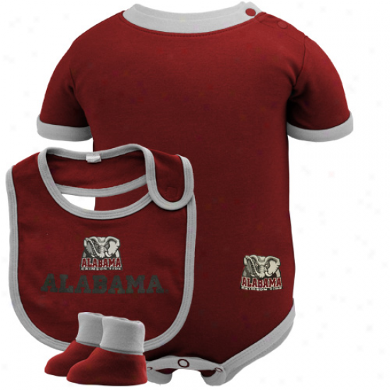 Majestic Alabama Crimson Tide Infant Crimson Creeper, Bib & Bootie Determined