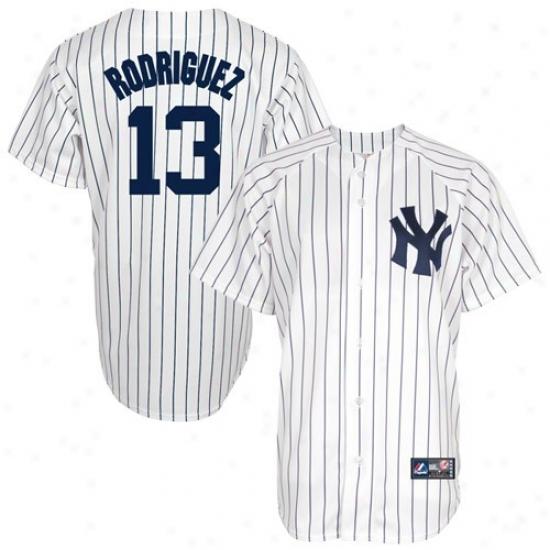 Majestic Alex Rodriguez New York Yankees Replica Baseball Jersey #13 White Pinsrtipe