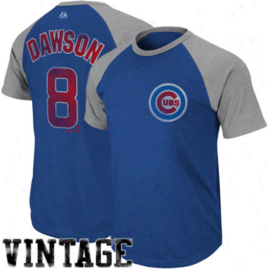 Majestic Andre Dawson Chicago Cubs #8 Legacy Of Champions Raglan Player T-shirt - Royal Blue-charcoal