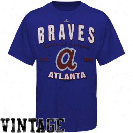Majestic Atlanta Braves Cooperstown Barney T-shirt - Royal Blue