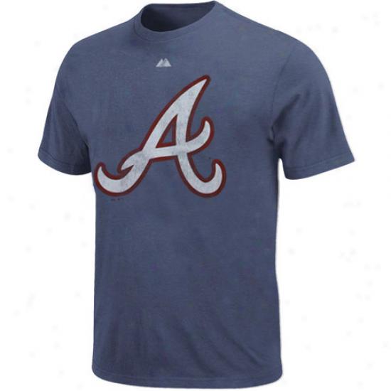 Majestic Atlanta Braves Nqvy Blue Ballyard Legends Heathered T-shirt