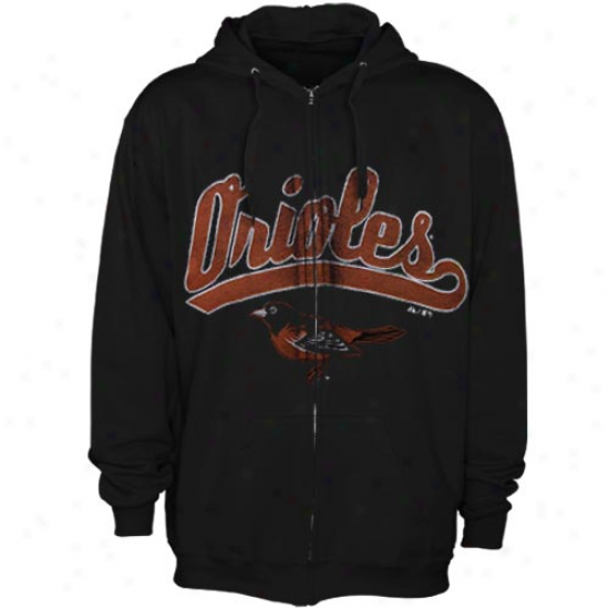 Majestic Baltimore Orioles Black Big Club Full Zip Hoodie Jerkin