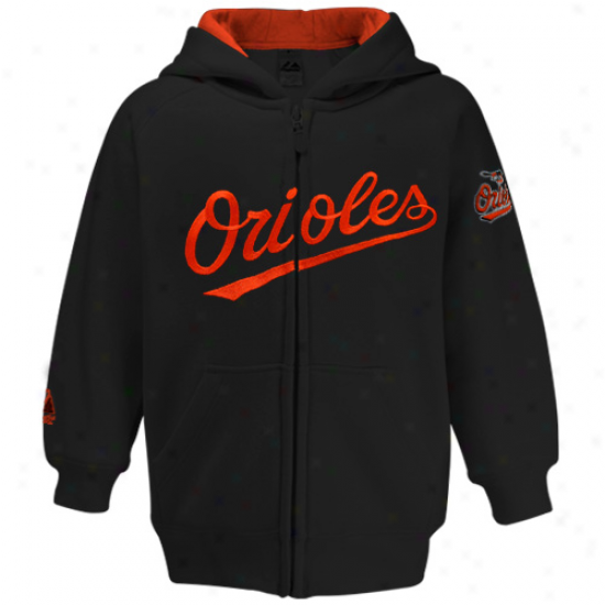 Majesstic Baltimore Orioles Toddler Black Full Zip Hoody Sweatshirt