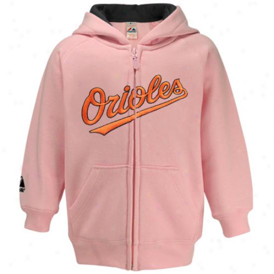 Majestic Baltinire Orioles Toddler Girls Pink Full Zip Hoody Sweatshirt