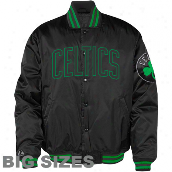 Majestic Boston Celtics Stain Big Sizes Full Zip Jacket - Black