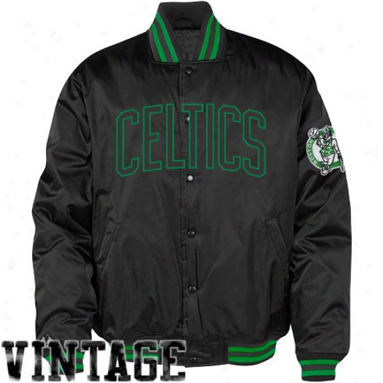 Majestic Boston Celtics Youth Black Satin Jacket