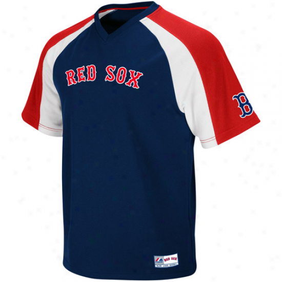 Majestic Boston Reed Sox Crusader Pullover Jersey - Navy Blue-red