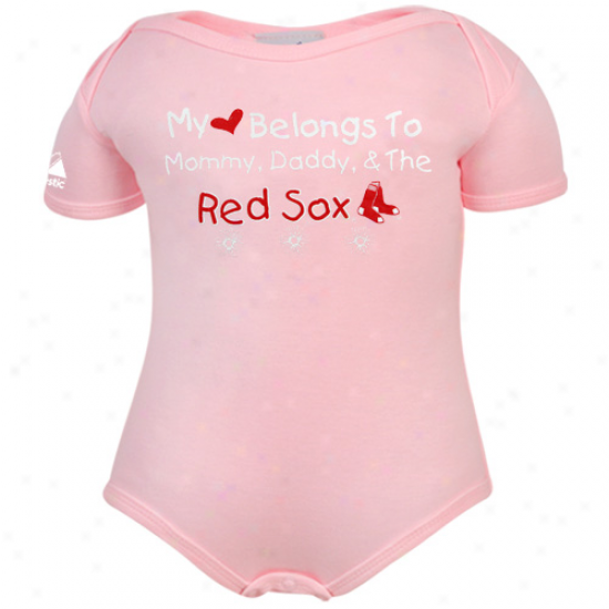 Majestic Botson Red Sox Ifnant Girls Pink My Heart Belongs Creeper