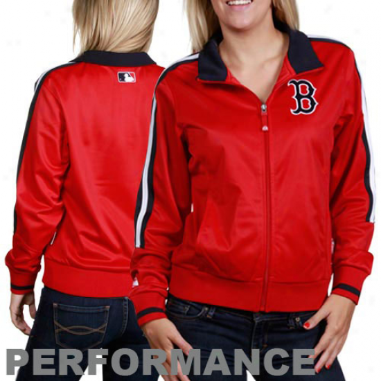 Majestic Boston Red Sox Ladies Red Therma Base Performance Track Jacket