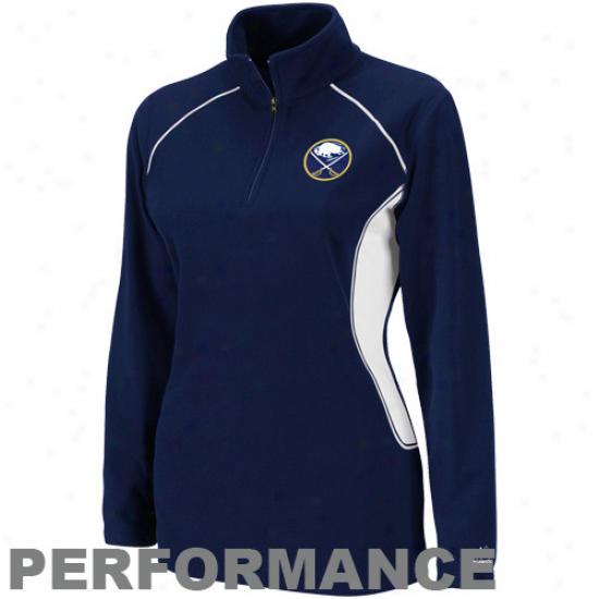 Majestic Buffal Sabres Ladies Navy Blue Charged Up Quarter Zip Fleece Sweatshirt