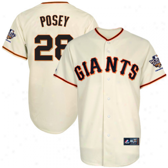 Majestic Buster Posey San Francisco Giants Youth 2010 World Series Champions Jerrsey-natural