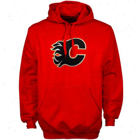 Majestic Calgary Flames Red Felt Tek Patch Pullover Hoody Sweatshirt