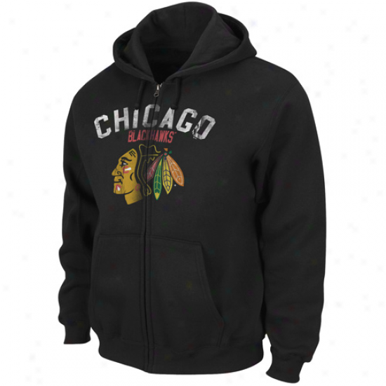 Majestic Chicago Blackhawks Black Enduring Strength Exactly Zip Hoodie Sweatshirt