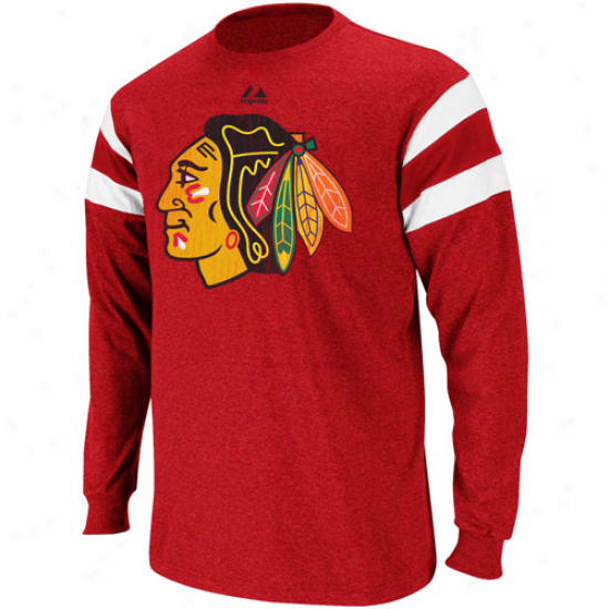 Majestic Chicago Blackhwaks Clear Shot Heathered Long Sleeve Premium T-shirt - Red