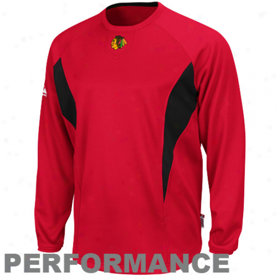 Majrstic Chicago Blackhawks Red-black Therma Base Tech Performance Pullover Swratshirt